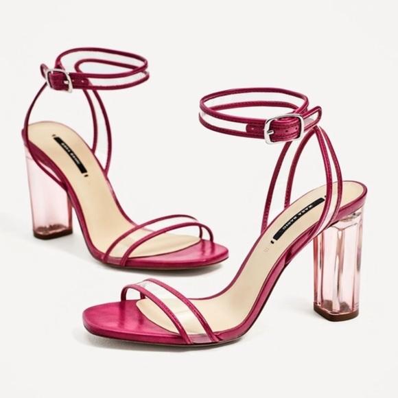 cc03644880b ZARA LUCITE clear heels PINK Strappy chunky sandal.  M 5a84802e8290afa894c00632